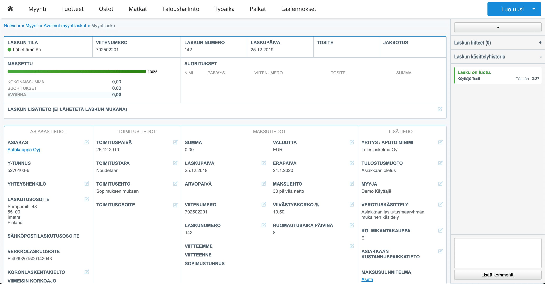 Uusittu laskutusnäkymä Netvisorissa tarjoaa varsin kattavan, joskin alkuun turhankin monipuolisen näkymän myyntilaskujen tekoon